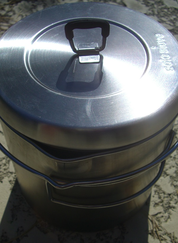 The Solo Stove Pot 1800 with the cover on and before I put it back in the pouch.